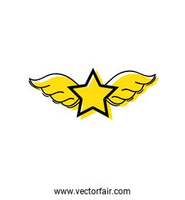 color star with wings rock symbol art