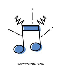 color musical note sign to rhythm sound