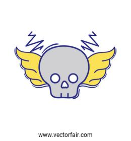 full color skull with wings rock art symbol