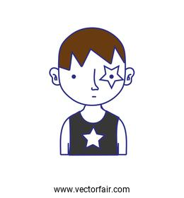 full color boy rocker with star tattoo and hairstyle