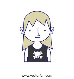 full color boy rocker with skull t-shirt and long hair