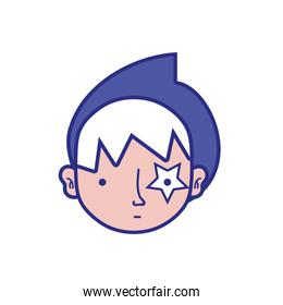 full color boy head with star tattoo and turban