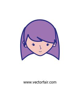 full color avatar girl head with hairstyle design