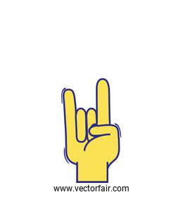 full color hand with rock gesture symbol communication