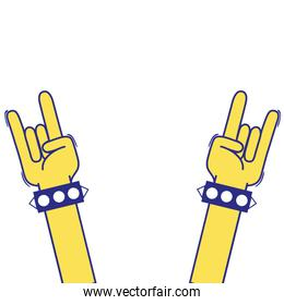 full color hands up with bracelet and rock symbol