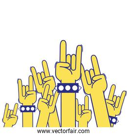 full color hands up with rock gesture symbol
