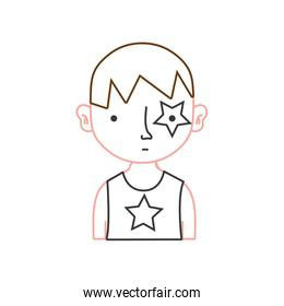 color line boy rocker with star tattoo and hairstyle