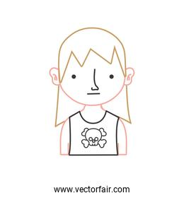 color line boy rocker with skull t-shirt and long hair
