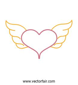 color line heart with wings symbol love art