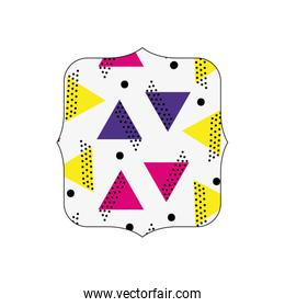 quadrate with geometric style figures background