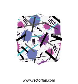 quadrate with abstract memphis design background