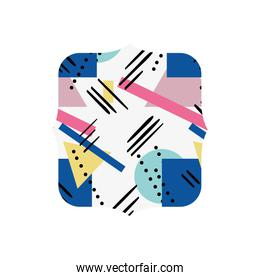 quadrate with geometric abstract style background