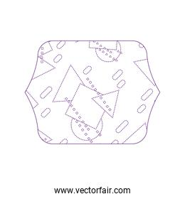 dotty shape quadrate with memphis geometric style background