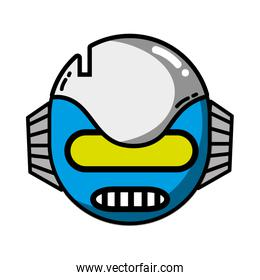 technology robot head with ears and mouth