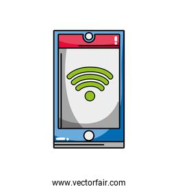 smartphone technology with wifi connection symbol