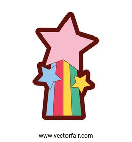 full color shiny stars design with rainbow icon