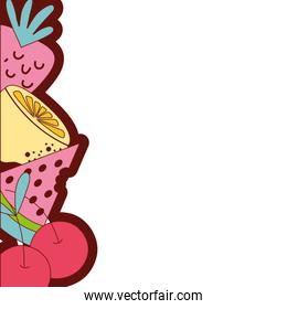 full color delicious organic fruits background design