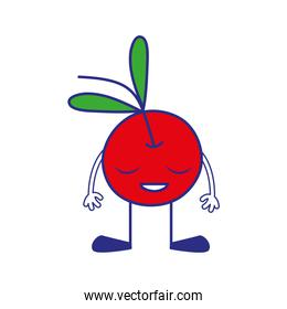 line color cherry kawaii fruit with arms and legs