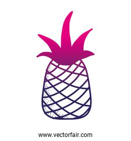 color silhouette delicious pineapple fresh and healthy fruit