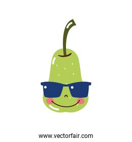 colorful happy pear fruit with sunglasses kawaii