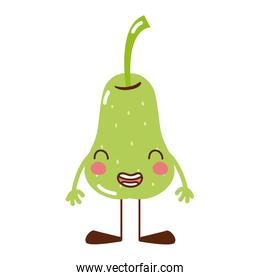 colorful kawaii pear smile fruit with arms and legs