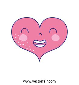 full color smile heart kawaii with facial expression