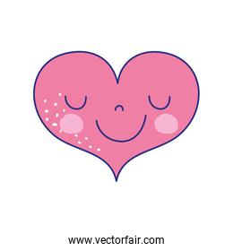 full color cute happy heart kawaii with facial expression