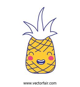 full color cute pineapple kawaii smile fruit