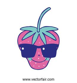 full color happy starwberry fruit with sunglasses kawaii