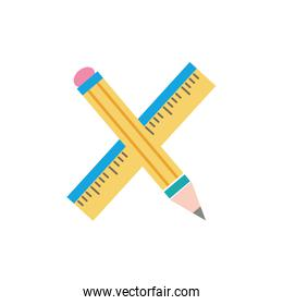 colorful ruler and pencil school tool education