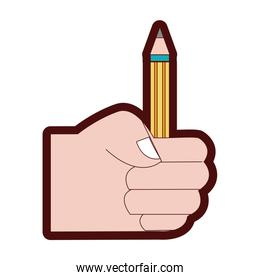 line color hand with pencil school utensil to study