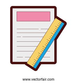 line color paper document with ruler object design