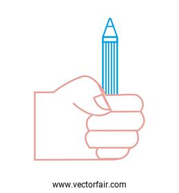 silhouette hand with pencil school utensil to study
