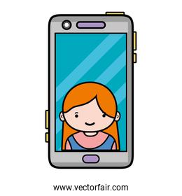 smartphone technology with girl person communication