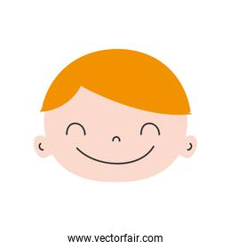 colorful happy avatar boy face with hair