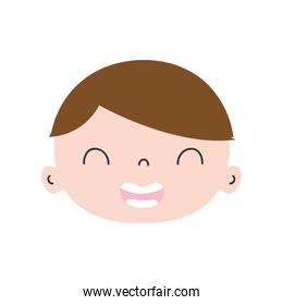 colorful smile avatar boy face with hair