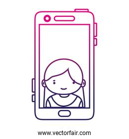 silhouette smartphone technology with girl person communication