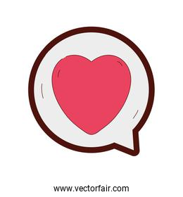 line color heart sign of love inside chat bubble