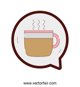 line color hot coffee cup inside chat bubble