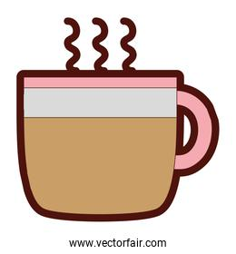 line color hot coffee cup beverage to drink