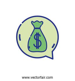 full color bag with dollar sign inside chat bubble