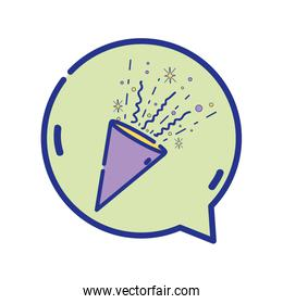 full color party confetti inside chat bubble message