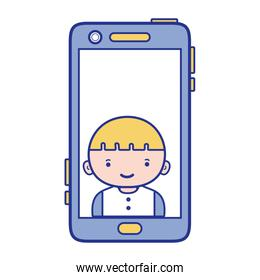 full color smartphone technology with boy person communication