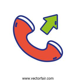 full color phone call received sign telephone icon