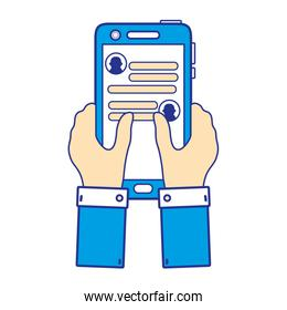 full color hands with smartphone and whatsapp chat message