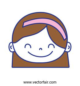 full color avatar girl head with hairstyle and headband