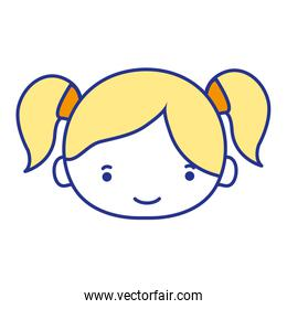 full color girl head with two tails hair