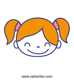 full color happy girl head with two tails hair