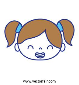 full color smile girl head with two tails hair
