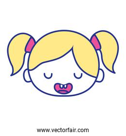 full color funny girl head with two tails hair